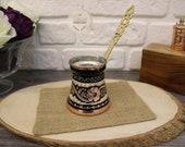 Traditional Turkish Coffee Pot With Brass Handle , Copper Coffee Pot, Decorated Turkish Coffee Makers,Turkish Style , Handmade
