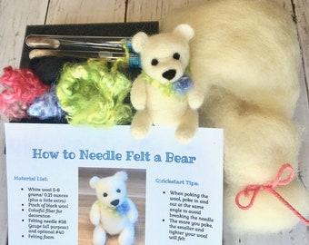 Needle Felting Kit Beginner, Felted Bear DIY Craft, Holiday Gift