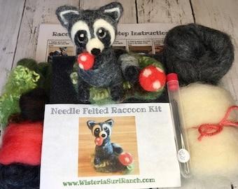 Needle Felting Raccoon Kit with Magical Mushroom, Complete Felting Gift Kit