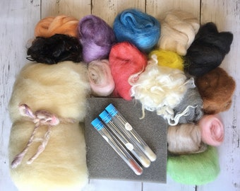 Needle Felting Kit Beginner, Complete DIY Kit with Alpaca Roving, Core Wool, Felting Needles, Felting Foam
