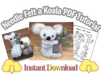 Needle Felting Tutorial Koala, PDF Instant Download