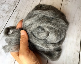 Alpaca Roving for Hand Spinning, Natural Gray Roving from our Suri Alpaca Ellie in Texas, 2 ounces