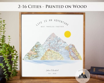 Custom Couples Wood Sign Travel Map Art Print Wedding Gifts | Engagement, Anniversary Gifts for Husband | Hiking Gift Mountain Wall Art.™