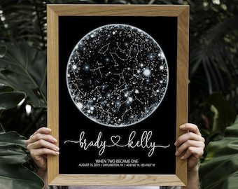 Anniversary gift for husband, Custom star map by date, First paper anniversary  wedding gift Personalized constellation map framed Night sky
