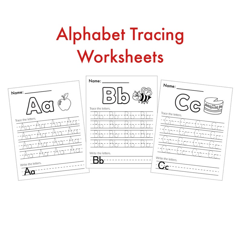 Alphabet Worksheets Tracing Letters Preschool Learning Etsy