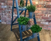 Vintage Painted Step Ladder Wooden, Hand Painted, Boho, Display Ladder, Display steps, Plant Stand