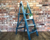 Vintage Step Ladder Painted Blue Splatter Effect