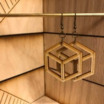 2D Cube - Laser Cut Earrings for Gifts - BOX INCLUDED