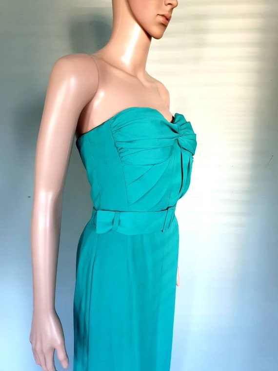Vintage couture silk jumpsuit strapless by collign