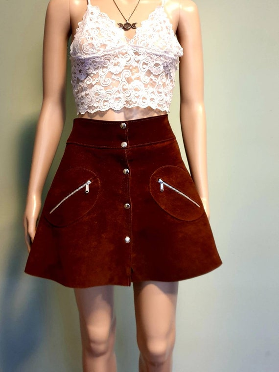 Vintage sixties seventies suede leather mini skirt