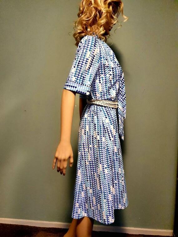 Vintage dress fifties sixties blue White