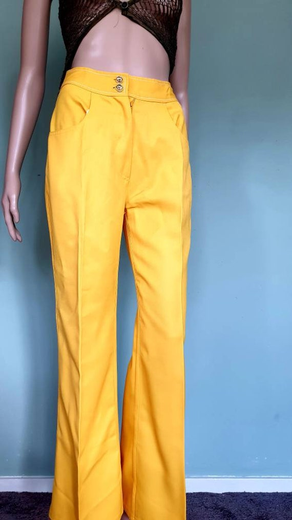 Yellow flared 70s pants trousers jeans small