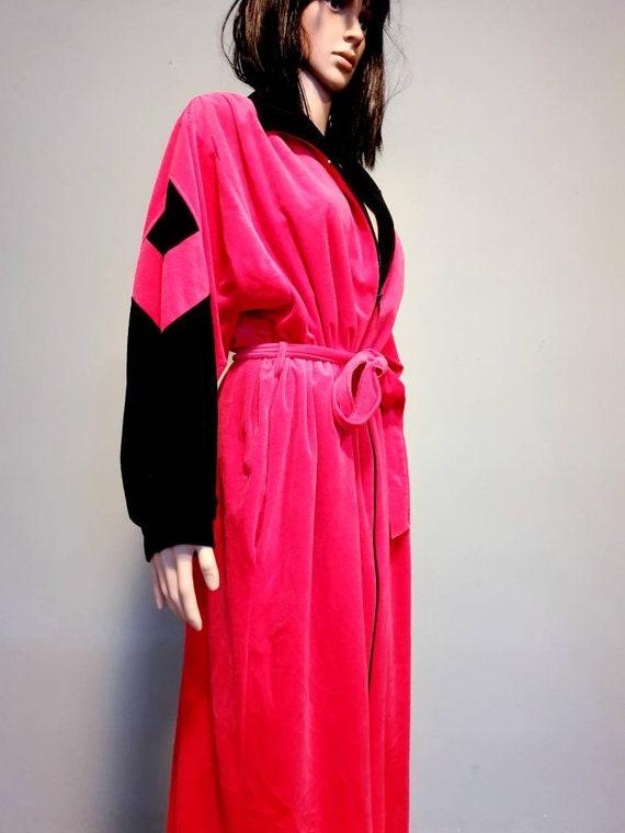Pink vintage velvet bathrobe duster house dress M