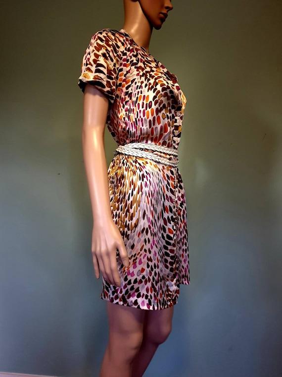 Vintage seventies silk dress animal print