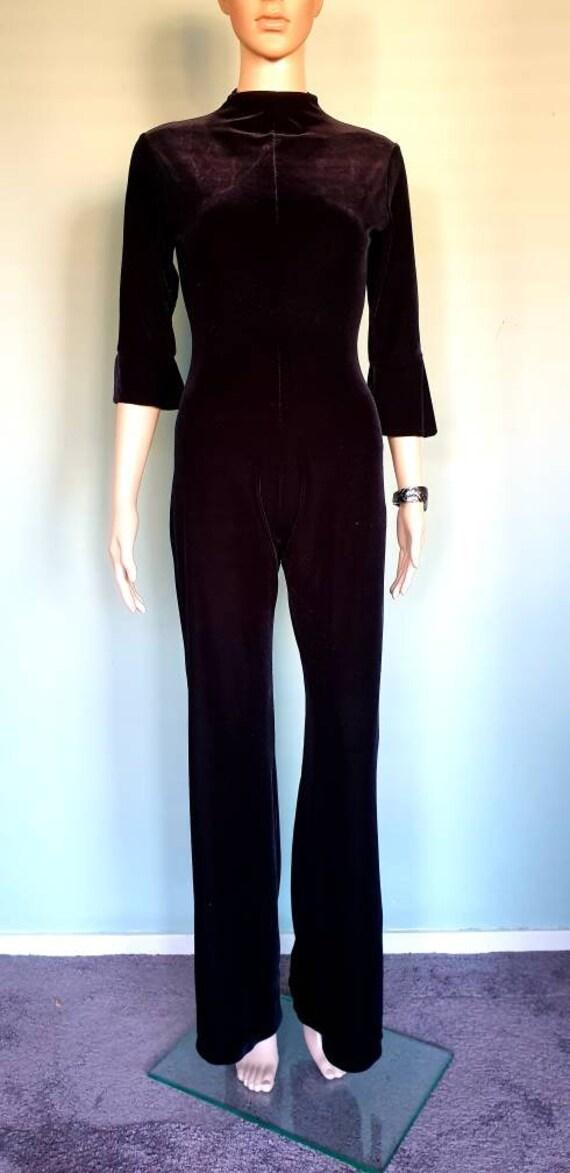 Vintage 70s Black velvet jumpsuit batsleeves catsu