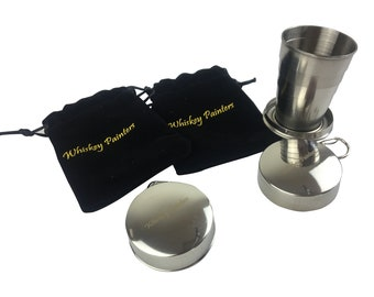 NEW! Original Whiskey Painters Folding Stainless Steel Cup For Watercolor On The Go ~ Portable Key chain Loop ~ Compact ~Free Water Brush