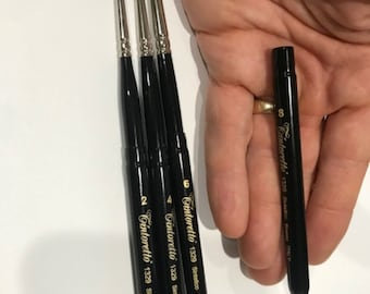 TINTORETTO Italy Size 2, 4, 6  and #8 Travel Pocket Brush Faux Sable Round Series 1329 FREE Travel palette cup & travel Case