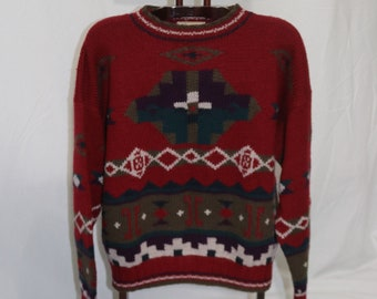 cf79f3e9c97db Vintage Men s L L Bean Wool Aztec Southwestern Navajo Pullover Sweater Size  Extra Large