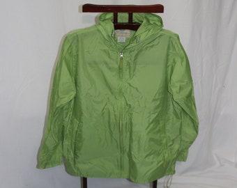 bc34fc8ee28 Retro Womens Green Windbreaker Nylon Zipper Front Jacket