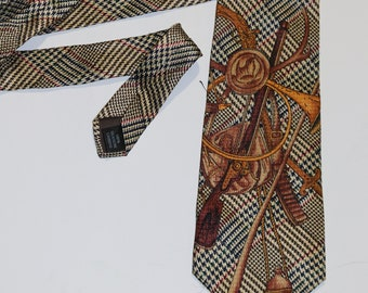 75982dc7c0db Mens Prince of Wales Hunting Exploration 100% SIlk Necktie
