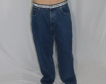 b1f61ee4 Mens Size 34 Tommy Hilfiger Tommy Jeans Spellout Waistband Blue Jeans