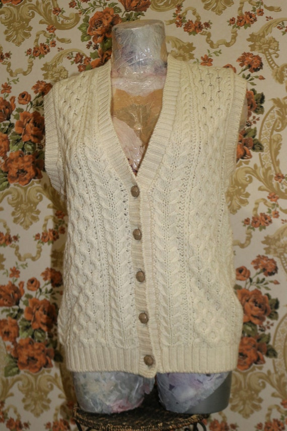 Mens Womens UNisex Hand Knit Cable Knit Aran Swea… - image 9