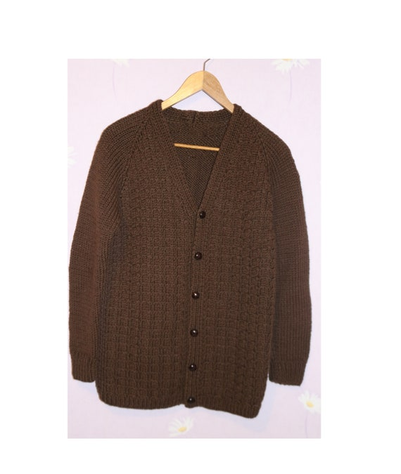 Vintage Brown Hand knit Cable Cardigan Sweater