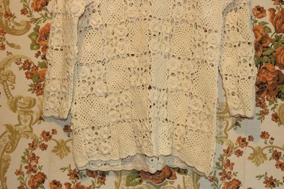 Boho Cream Ivory Granny Square Crocheted Pullover… - image 5