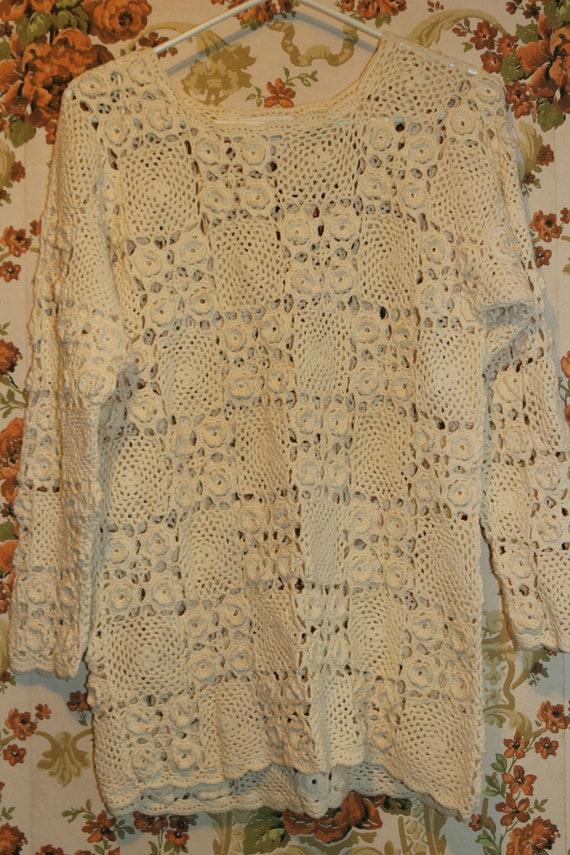 Boho Cream Ivory Granny Square Crocheted Pullover… - image 2