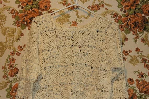 Boho Cream Ivory Granny Square Crocheted Pullover… - image 3
