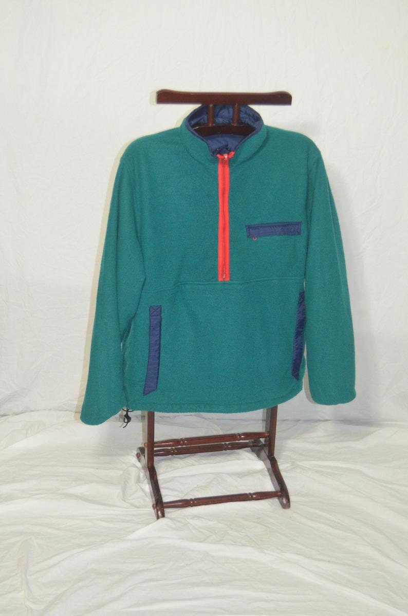 Size Large Vintage Reversible Fleece Nylon Misty Mountian Pullover Jacket