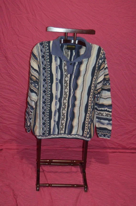 Vintage Mens Blue Multicolored COOGI STYLE Collare