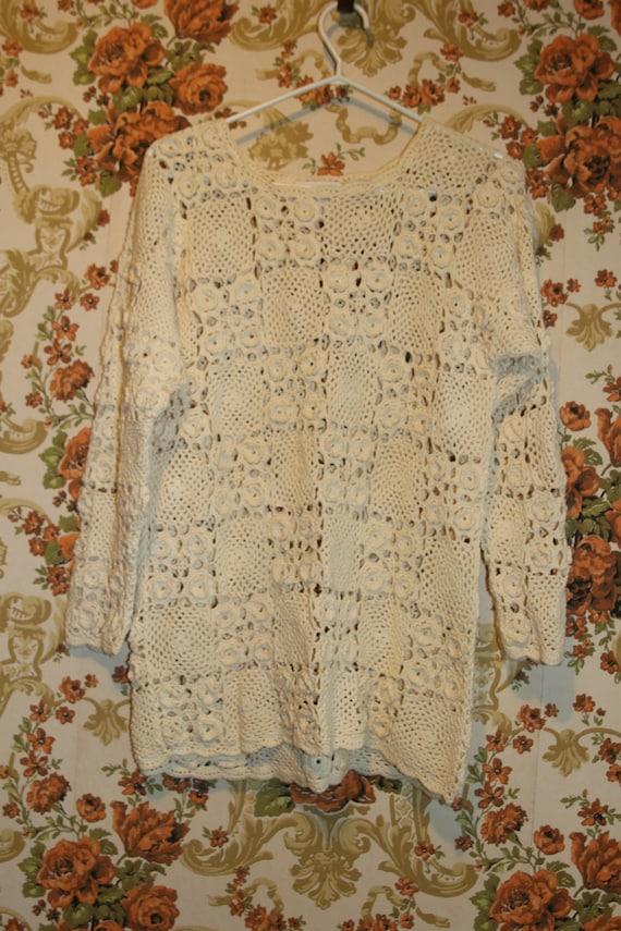 Boho Cream Ivory Granny Square Crocheted Pullover… - image 6