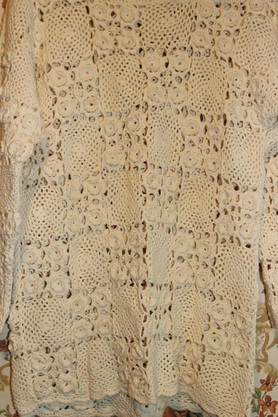 Boho Cream Ivory Granny Square Crocheted Pullover… - image 7