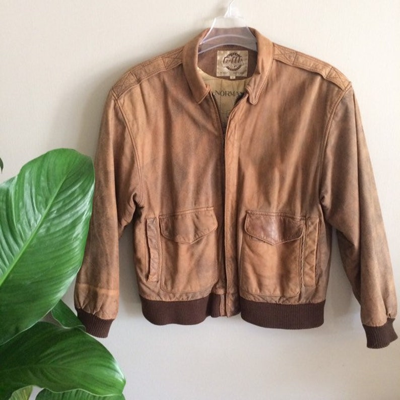 60a5f24c9 Men's Global Identity Brown Leather G III Bomber Jacket, Aviator Size Small