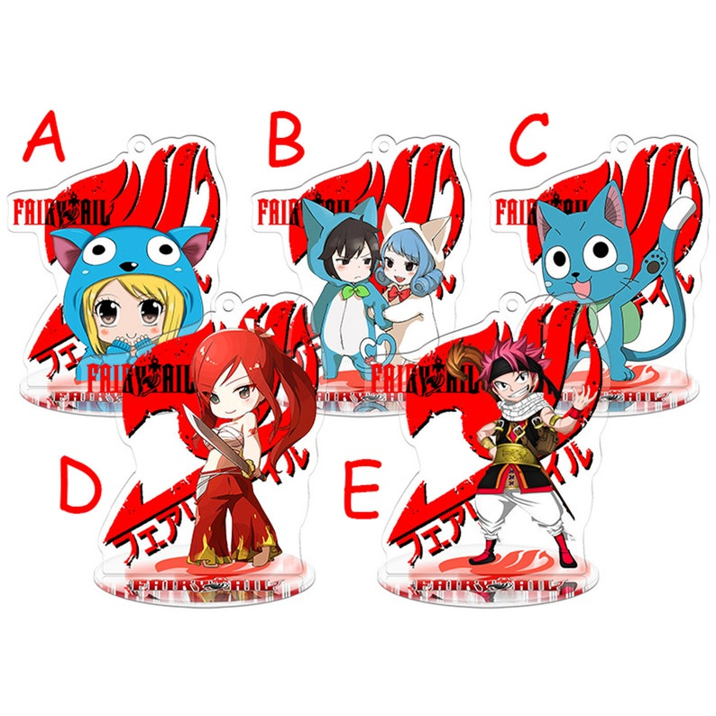 Fairy Tail Japan Anime Accessories Acrylic Keychain Stand Lucy Gray Juvia  Happy Erza Natsu Decoration Gift Hand Bag Case Collection Display