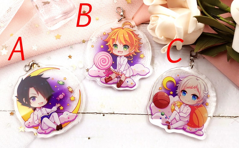 The Promised Neverland Japan Anime Characters Keychain Stand Phone Strap Norman Emma Ray Gift Bag Case Pendant Purse Decoration Display