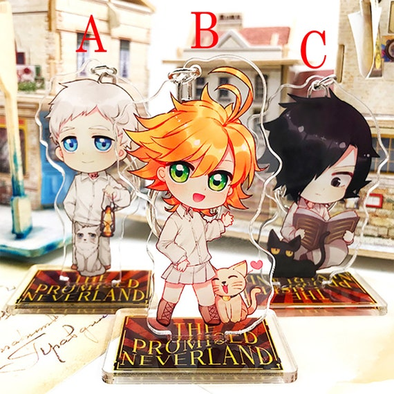 The Promised Neverland Japan Anime Keychain Stand Norman Emma Ray Gift Bag Pendant Decoration Display Accessories Present