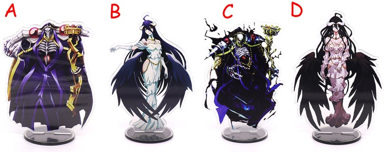 Overlord Japan Anime Accessories Acrylic Display Stand Ainz Ooal Gown  Albedo Table Top Decoration Case Keychain Gift Bag