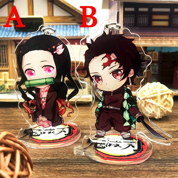 Blade of Demon Destruction Japan Anime Accessories Acrylic Keychain Nezuko  Tanjiro Kamado Decoration Display Gift Bag Case Collection