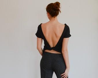138540a593e07d Organic Cotton Backless Twisted T-Shirt - Black