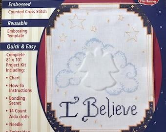 Plaid Stitched Impressions I Believe Angel  Counted Stitch Kit