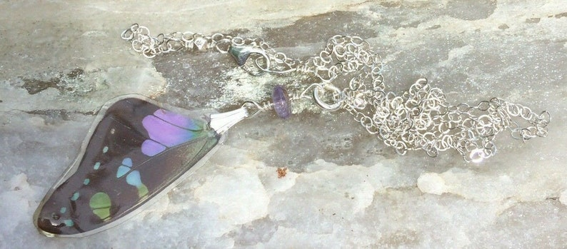 Sterling Silver Purple Graphium Butterfly Wings Tanzanite accent Real Butterfly Wing Pendant /& Necklace Set