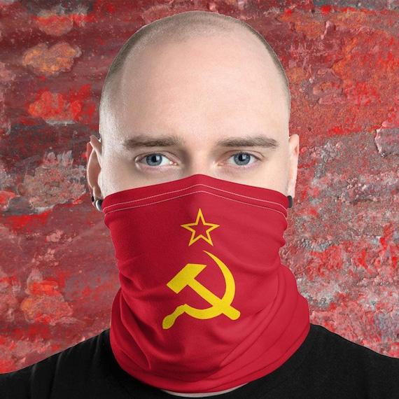Retro Soviet Flag Face Mask Russian Theme Neck Gaiter Red | Etsy