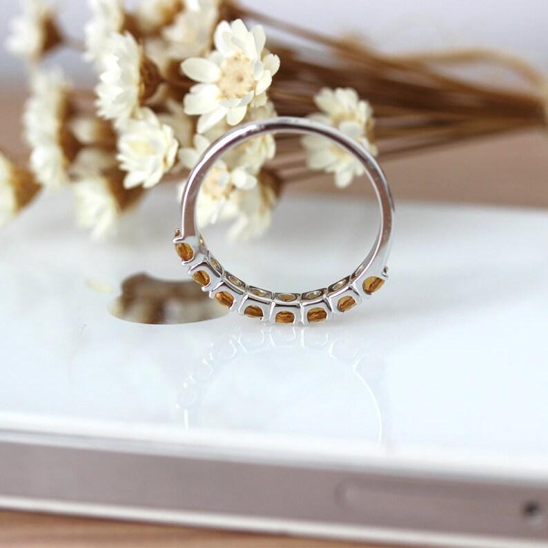 14K White Gold Bridal Ring Natural Citrine Wedding Band Anniversary Ring Half Eternity Birthstone Yellow Stone Band