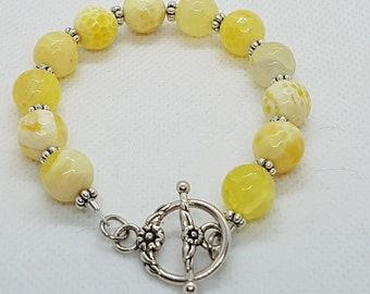 Agate Bracelet | Yellow Gemstone Bracelet | Yellow Fire Agate Jewellery