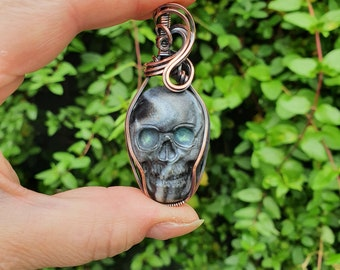 Skull Pendant, Wire Wrapped Jewellery, Human Skull Necklace, Day of the Dead