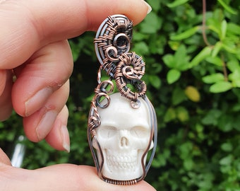 White Skull Pendant, Copper Halloween Jewellery, Wire Wrapped Pendant, White Necklace, Day of the Dead