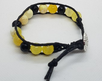 Single Wrap Bracelet | Fire Agate and Jade Jewellery | Gemstone Wrist Wrap | Yellow and Black Beaded Bracelet