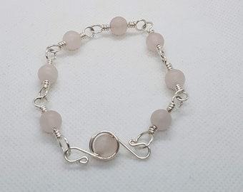 Rose Quartz Bracelet in Silver